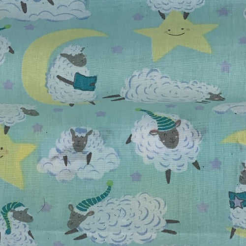 Mint Sheep #UB10 Polyester/Cotton Easy Care Woven Print -SKU 9500A
