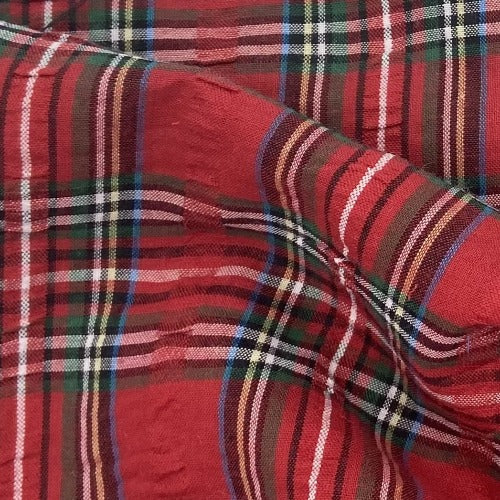"Red #S58 Seersucker 1"" Plaid Shirting - SKU 5926"