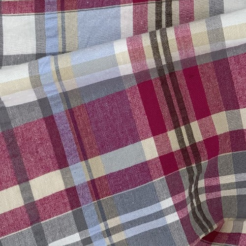 Ivory/Cranberry #SS Plaid STRETCH Spandex Seersucker Shirting Woven Fabric - SKU 5201B Ivory