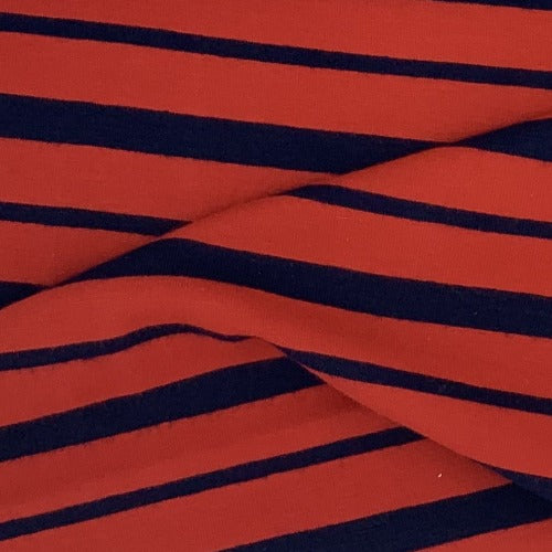 Red/Black Striped Cotton/Spandex Print Jersey Knit Fabric - SKU 2677A