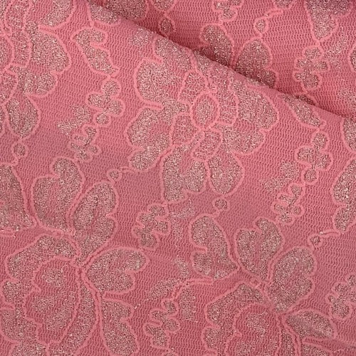 Coral Embroidered Stretch Lace Knit Fabric - SKU 3660