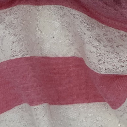 Coral Lace Texture Stripe Jersey Knit Fabric - SKU 4529