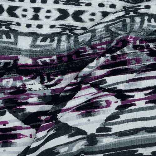 Purple #S911 Scribble Mock Bamboo Jersey Print Knit Fabric - SKU 5461