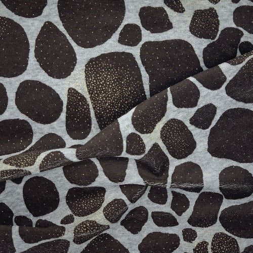 Heather Grey/Gold/Brown Metallic Stones Print Velour Stretch  Knit Fabric - SKU 2672