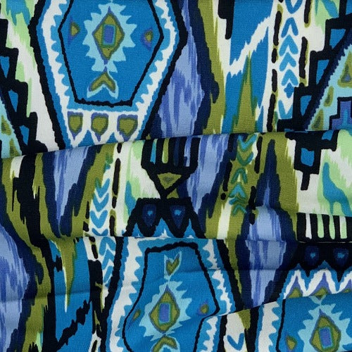 Turquoise/Navy/Sage Aztec Print Polyester/Spandex Jersey Knit Fabric - SKU 3164