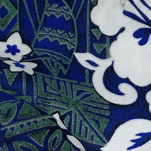 Hawaiian Leaf Royal/White Challi Print Woven Fabric - SKU 3206