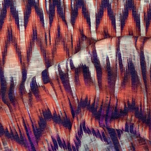 Purple/Red #S Volcano Print Jersey Knit Fabric - SKU 5460