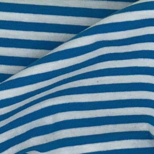 Turquoise White #SS141 Cotton Spandex Stripe Jersey Knit Fabric - SKU 4558A
