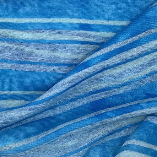 Clearance Turquoise Heather Rayon/Spandex Stripe Jersey Knit Fabric - SKU 4525A