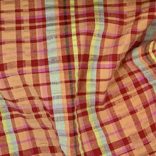 Orange/Red #S/KK Plaid STRETCH Spandex Seersucker Shirting Woven Fabric - SKU 5201A Org