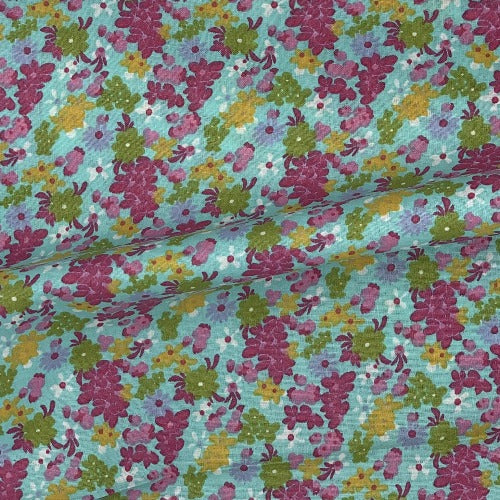 "Mint Bouquet Calico #UB8 Cotton Woven Fabric 45""- SKU 8001C"