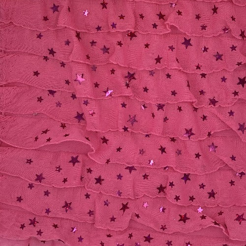 Pink Neon Ruffle Star Sequin Spandex Jersey Knit Fabric - SKU 3733