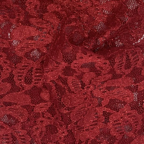 Cranberry #S139 Metallic Sequin Lace Knit Fabric - SKU 5912