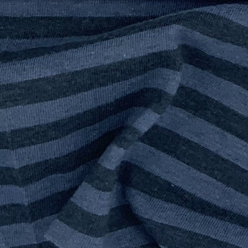 Charcoal/Blue Stripe Polyester/Cotton Tubular Jersey Knit Fabric - SKU 4527
