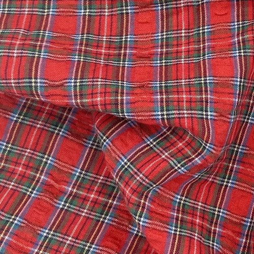 "Red #S58 Seersucker 2.5 "" Plaid Shirting - SKU 5926"
