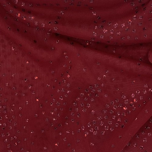 Cranberry Flowers Sheer Sequin Jersey Knit Fabric - SKU 3712