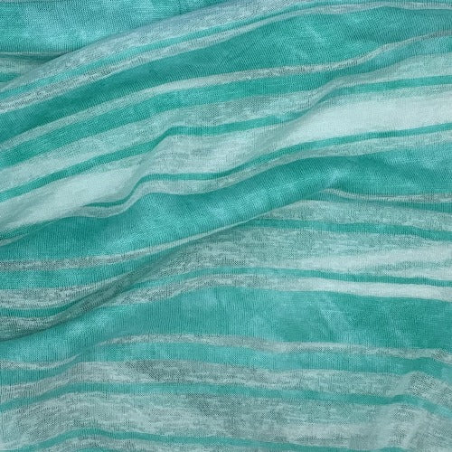 Clearance Green Heather Rayon/Spandex Stripe Jersey Knit Fabric - SKU 4525A