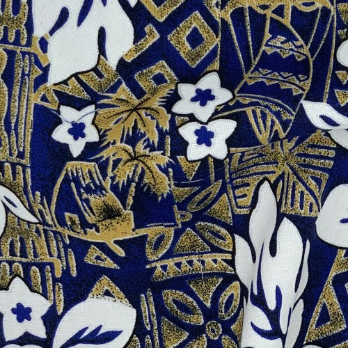 Hawaiian Leaf Gold/White Challi Print Woven Fabric - SKU 3206