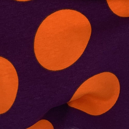Wine Bright OrangeWine Bright Orange 2 Inches Dots Cotton Spandex Print Jersey Knit Fabric - SKU 4560A