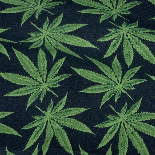 Black/Green #S214 Cannabis Easycare Polyester/Cotton Print Woven Fabric-SKU 5824E