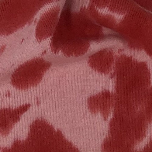"Red/Pink ""Made In America""  Hand Tie-Dye Rib Knit Fabric - SKU 6051D"