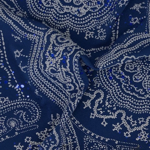 Blue Paisley #S Sequin Polyester/Spandex Knit Fabric - SKU 6022A