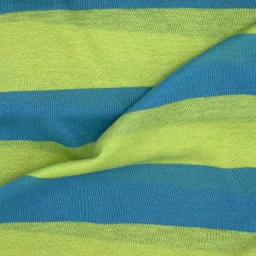 "Turquoise Lime #SS74 1 1/2 Rayon Spandex Stripe Jersey Knit Fabric"" - SKU 4525C"