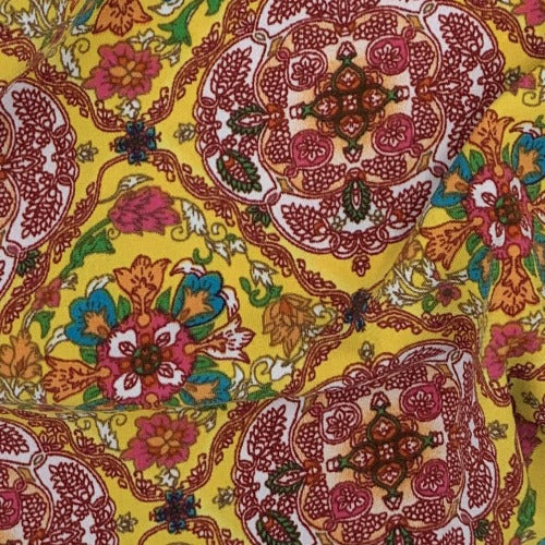 Yellow #S122 Medallion Print Spandex Jersey Knit Fabric - SKU4221F