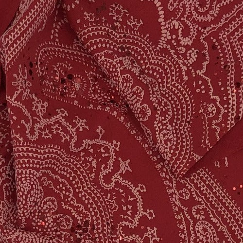 Pink Paisley #S Sequin Polyester/Spandex Knit Fabric - SKU 6022A