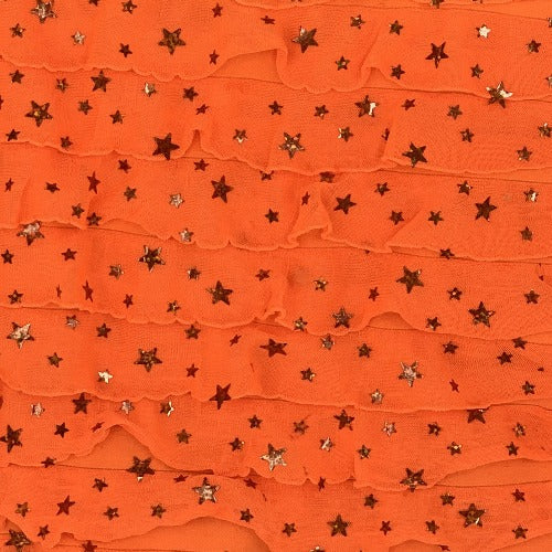 Orange Neon Ruffle Star Sequin Spandex Jersey Knit Fabric - SKU 3733