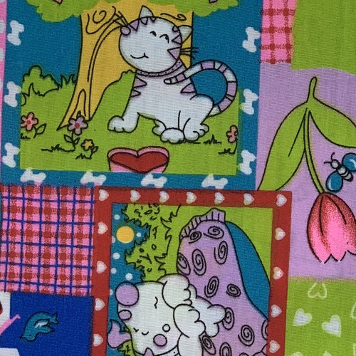 Multi Dogs & Cats Dreams  #S36 Easycare Polyester/Cotton Print Woven Fabric-SKU 5824A