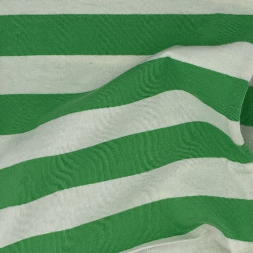 Green/Ivory #UB/SS Stripe Cotton/Spandex Jersey Knit Fabric - SKU 4522C