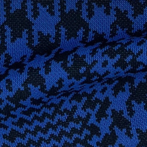 Black/Royal Houndstooth Sportswear Plaid Double Knit Fabric - SKU 4341