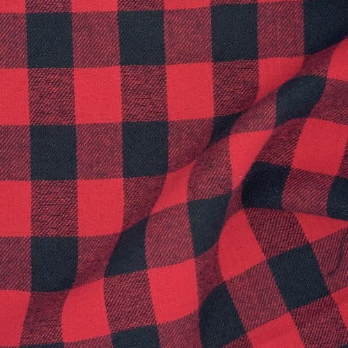 "Black/Red #U102 1"" Buffalo Check Plaid Flannel Woven Fabric - SKU 3921"