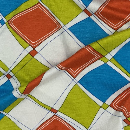 Turquoise Argyle Rayon Spandex Print Jersey Knit Fabric - SKU 4197 Turquoise