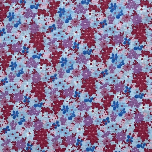 "Blue Floral Calico #U25 Cotton Woven Fabric 45"" - SKU 8001B"
