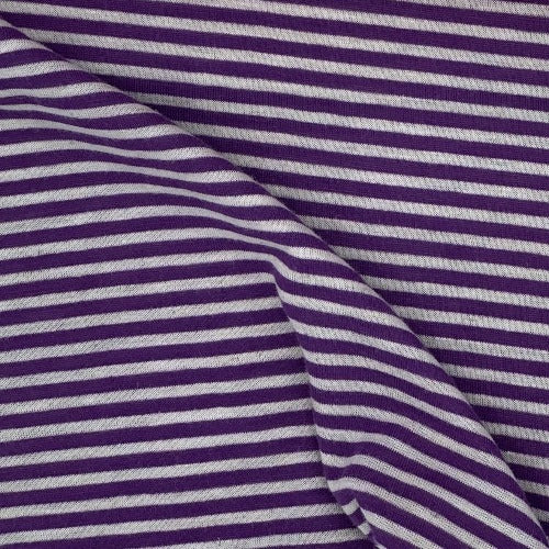 Purple White #SS159 3/8 Inch Rayon Spandex Stripe Jersey Knit Fabric - SKU 3098B