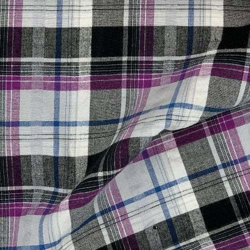 Black/Purple #S/KK Plaid STRETCH Spandex Seersucker Shirting Woven Fabric - SKU 5201A Black