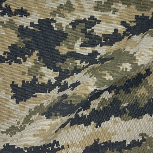 Olive/Black/Tan Digital 12 ounce Canvas Carhartt Camouflage Print Woven Fabric - SKU 4487