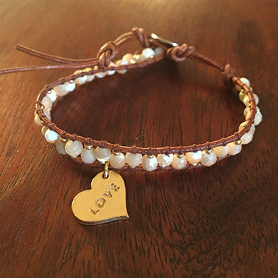 Love/Aloha Heart Mother of Pearl Beads Wrap Bracelet Sale Item
