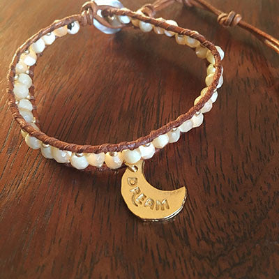 Mahina Dream/Moemoea Mother of Pearl Beads Wrap Bracelet