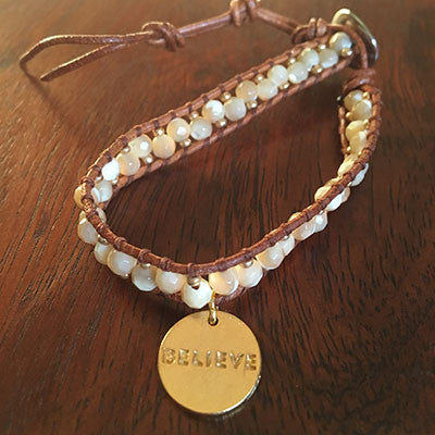 Believe/Hilina'i Disc Mother of Pearl Beads Wrap Bracelet