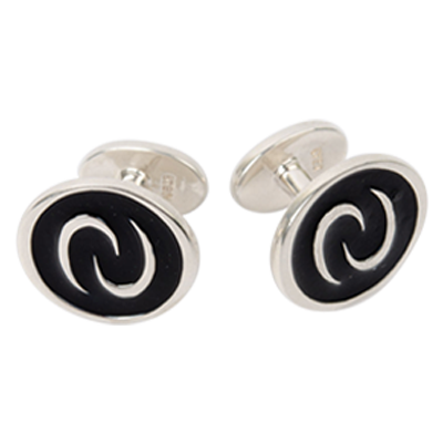 Black Enamel Signature Cuff Links