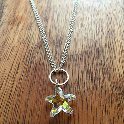 Swarovski Crystal Starfish Pendant Necklace