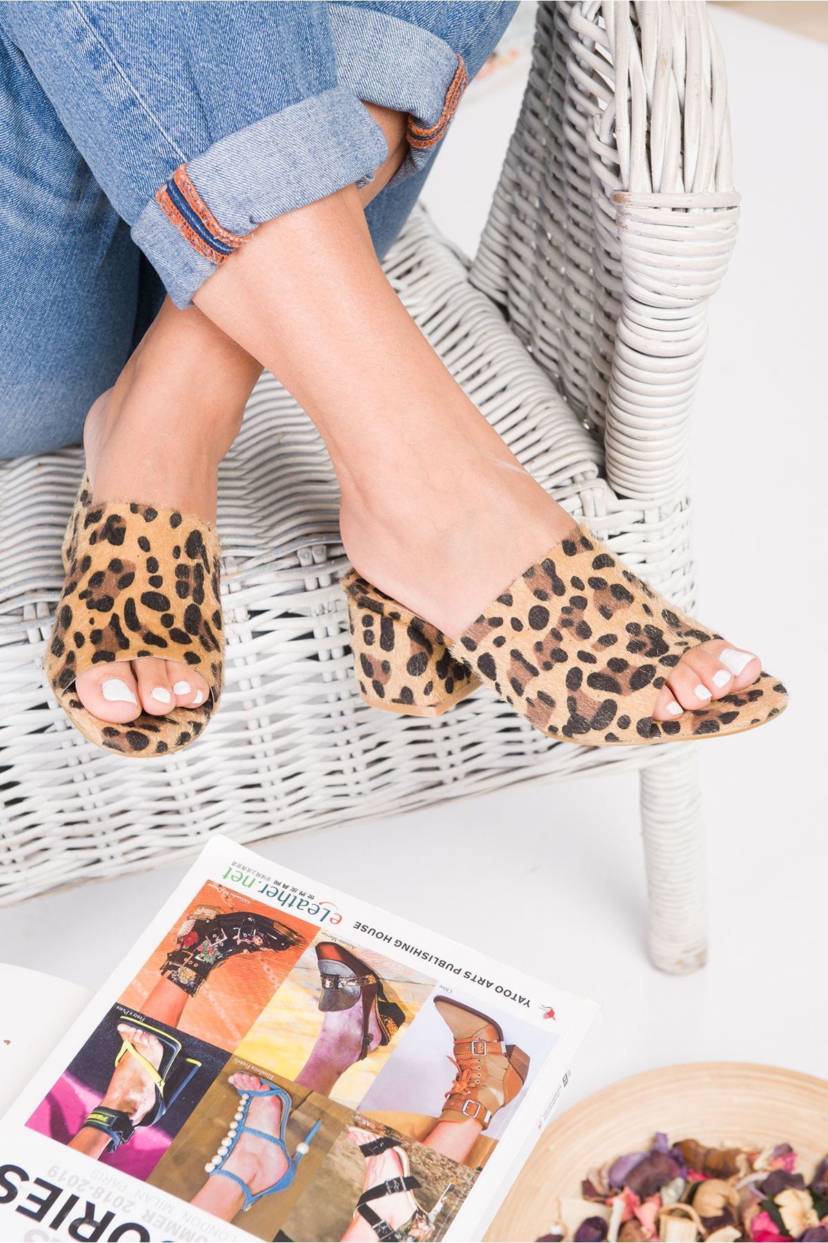 Leopard Pattern Ginger High Heel Slippers