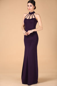 Women's Bind Front Purple Evening Dress