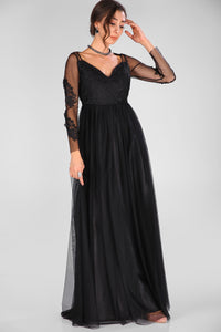 Tulle Detail Black Evening Gown