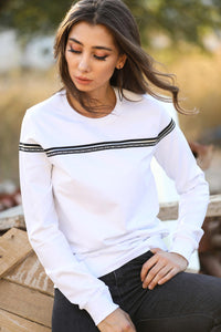 Stripe Detail White Sweatshirt - Pat&Sons