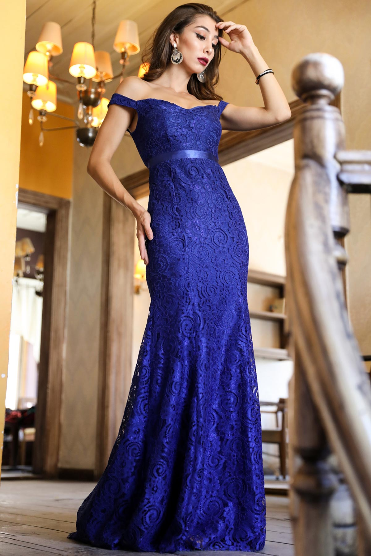 Boat Neck Saxe Evening Dress