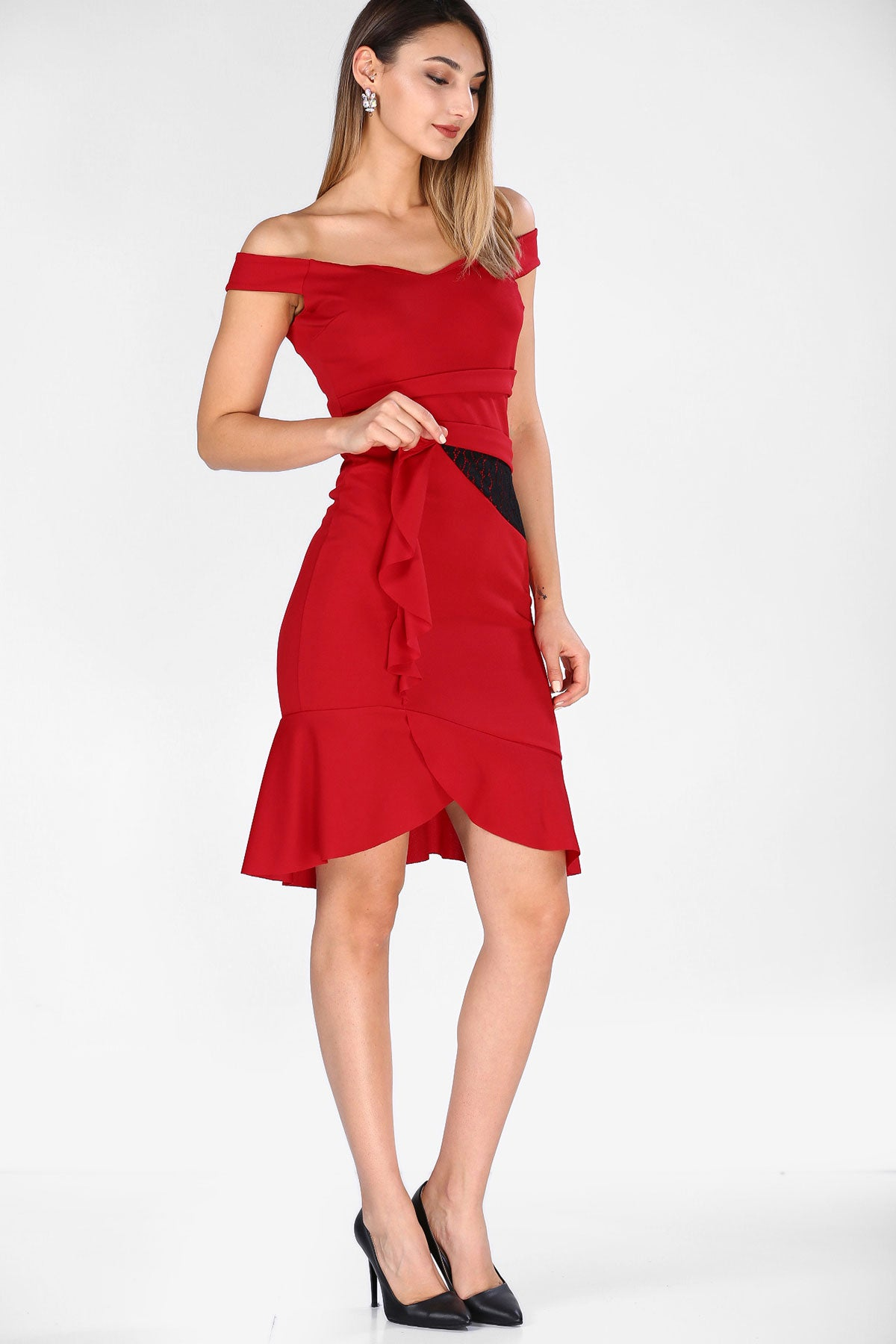 Women's Frilled Red Dress - Pat&Sons